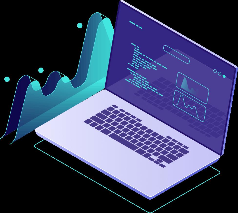 Laptop web design showing stats